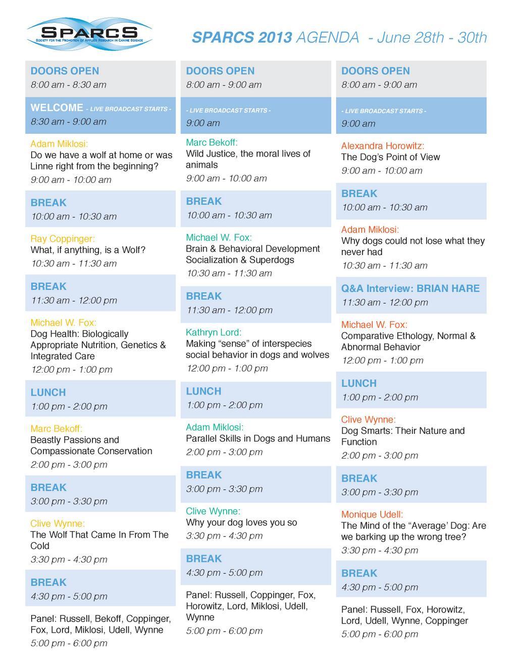 Calendario conferenze #SPARCS2013